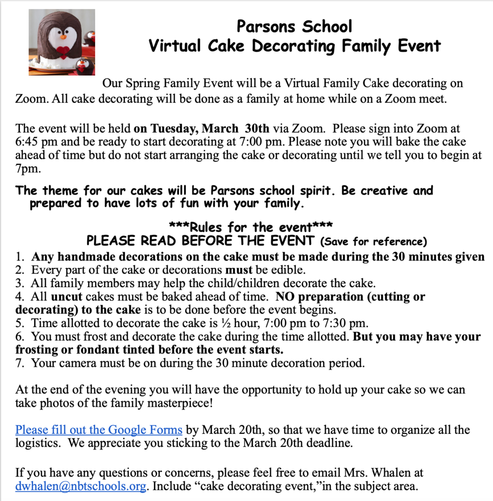 Virtual Cake Decorating Family Event