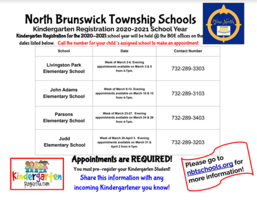 Kindergarten Registration for the 2020-2021 School Year