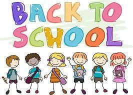 Cartoon students with backpacks under a Back to School banner
