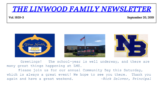 Linwood Family Newsletter September 2019