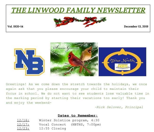 Linwood Family Newsletter 14