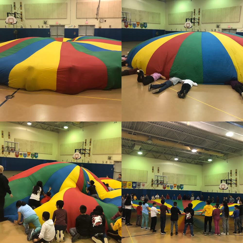 Parachute activities in gym