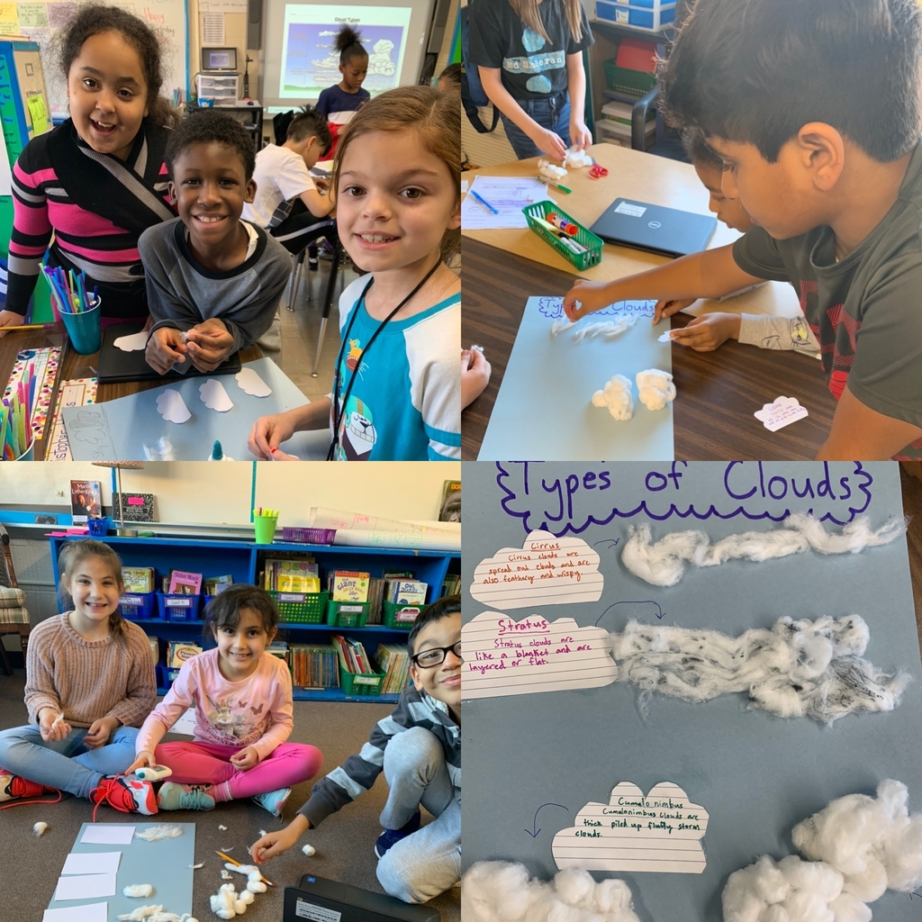 3rd graders learning about types of clouds
