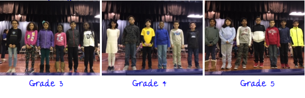 Winners from each class (grades 3 - 5)