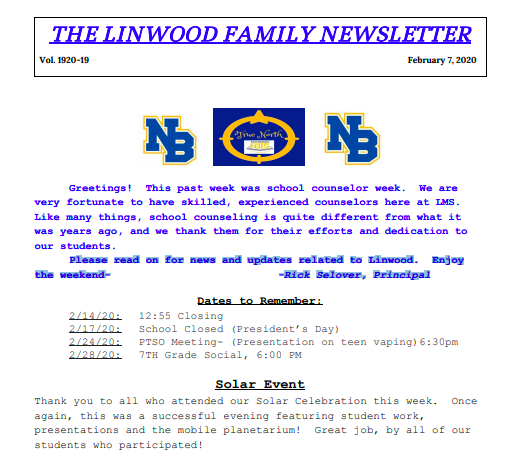 Family Newsletter 19