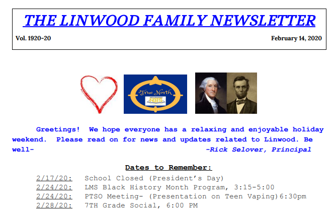 Family Newsletter 20