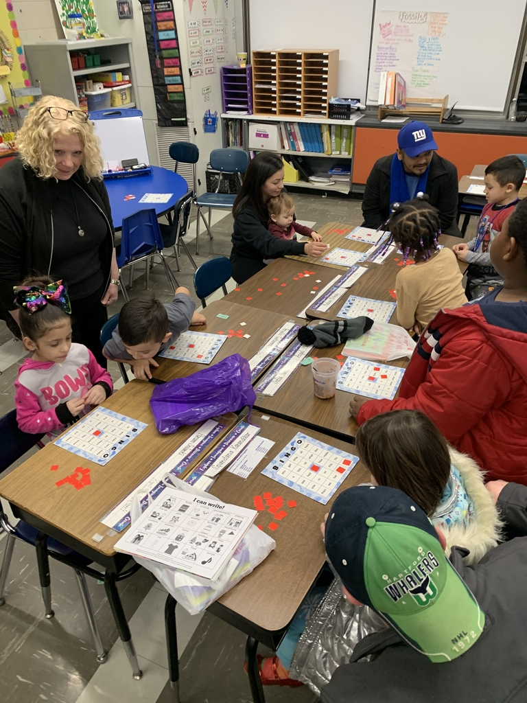 Families playing Sight Word Bingo together